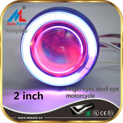 Milan hot sale motorcycle HD-07 cob led lens with angel eyes,devil eyes projector headlight