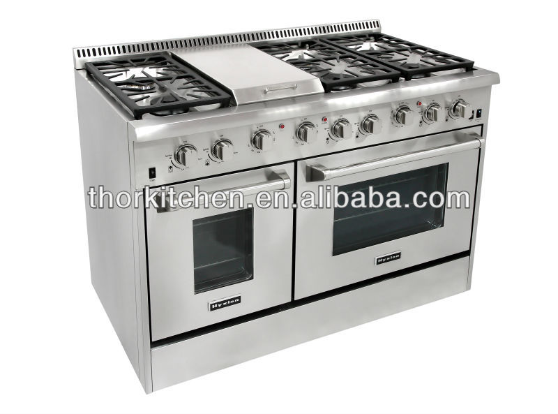 48 inch freestanding double ovens 6 burners hyxion gas range reviews buy hyxion gas range - Gas stove double oven reviews ...