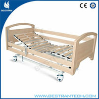 China BT-AE122 Medical equipment electric motorised wooden home care bed patient nursing bed manufacturer