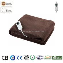 CE GS 3 Temperature Settings Auto-timer Single Microplush Throw Electirc Blanket