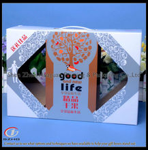 The luxury paper box with clear pvc window plastic handle for cashew nuts