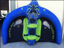 inflatable manta ray adventure / riding an inflatable manta ray / flying raft manta ray