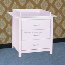 2015 hot sale european style white wooden 3 drawer cabinet for kids