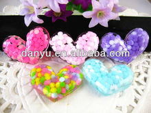 Flat back reisn crafts resin colorful heart for DIY hair decoration