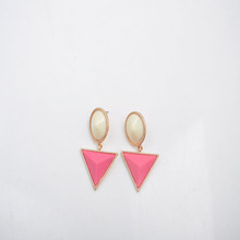 Popular Rhinestone pink Triangle Alloy Dangle Earrings