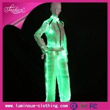 Ropa de fibra óptica traje luminoso fancy ladies 2 unidades trajes bragas de la capa