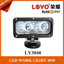 New Product 10-50Volt DC IP68 Waterproof Rectangle 4D Lens 40w led work light for Jeep, ATV,SUV,Truck