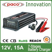 car battery float charger 12V 15A,7 stage automatic charging with CE,CB,RoHS certificate