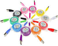 Yaika 10 Colors retractable usb cable with LED light USB Cable for iPhone 5 5s 5c iPod Pad Sumsang HTC