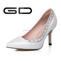 high quality genuine leather rhinestone white women dress high heel shoes