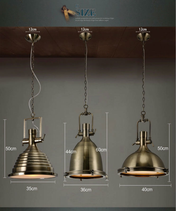 SL 3951. Decorative Vintage Industrial Hanging Lamp Chrome Or Brass Color  Pendant ...