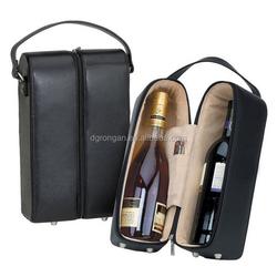 Portable fashion 2 bottles faux leather wine carrier D06-151066