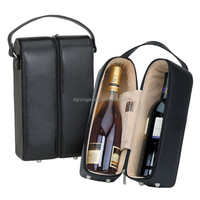 Portable fashion 2 bottles faux leather wine carrier D06-151066