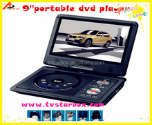 factory price fast delivery 9'' screen portable 12v dvd player without screent 270 degreen tft screen portable dvd player