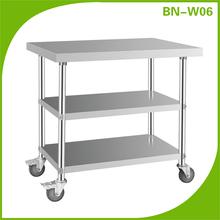 cocina de alta calidad de acero inoxidable mesa de trabajo con ruedas