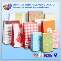 custom printed different types of wax coated paper bag food