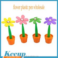 Branded Logo Souvenir Sun Flowers Plastic Desk Stand Pen with Flowerpot Wholesale
