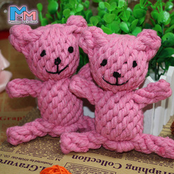 Pink color Hand-woven bear dolls animal design toy,dog rope toy for sale