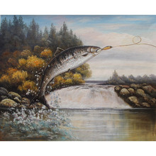 Pure handmade modern oil painting canvas fish with simple design, the big one fish to bite the bait paintings for sale