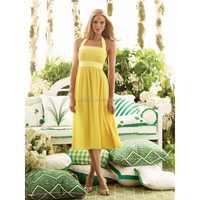 New Design Sheath Halter Sleeveless Sash Zipper Back Tea Length Yellow Casual Beach Wedding Dress AC075