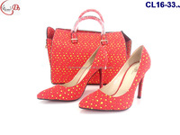 CL16-33 hot selling new design high quality WAX shoes and with match wax bag high heel shoes for wedding and party shoes