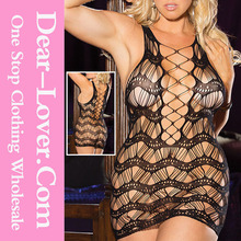 Plus Black Crocheted Lace Hollow-out Chemise Dress www xxl sex picture