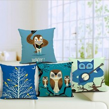 Cartoon Owl digital printing cotton seat cushion cover