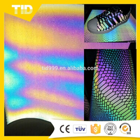 Rainbow Reflective synthetic leather For Shoe/Synthetic Upper Leather/pu synthetic leather