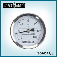 Stainless steel hydraulic temperature gauge for hot water