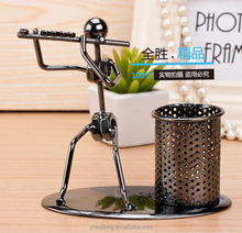 Creative metal actor with horn Pen Holder gift for children
