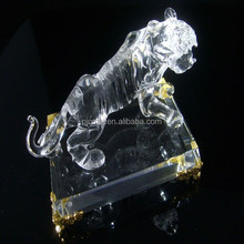 clear crystal tiger with base or home decoration gifts