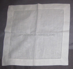 100% pure linen wedding napkins in cream color with dot hemstitch and stone washed.
