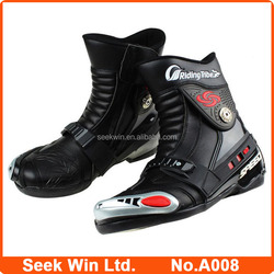 Safety Boots Motorbike Ankle Motor Bike Shoes Racing Motorcycles Boot Leather Botas Moto A008