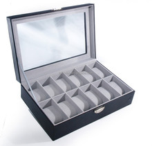 Customized fashion watch case for man ,Black Color Leather watch box Factory sales