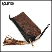 Factory price oem genuine leather ladies clutch purse