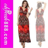 Women's floral print V-neck Long Beach Dress