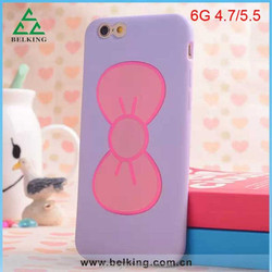 Newest Stand Case for iphone 6, for iphone 6 bowknot cute TPU case, soft rubber stand case for iphone 6