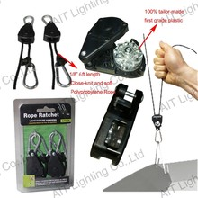 high quality 1/8inch 75LBS 8ft rope ratchet light hanger with plastic ratchet for hydroponic plant grow