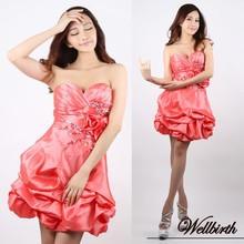 hort red puff organza sweetheart beaded cocktail dress homecoming dress mlc-126