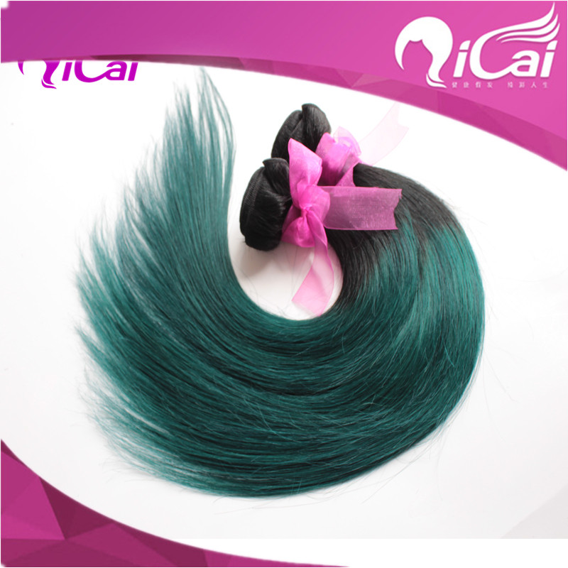 Free Shipping 1bemerald Ombre Hair Extensions3 Bundles Black