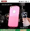 Fashion Soft Ultra Slim Mobilephone cover Pink transparent TPU case for Apple iPhone 6