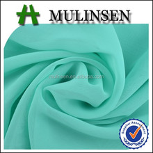 Shaoxing Textile 100% Polyester 75D dyed green chiffon fabric