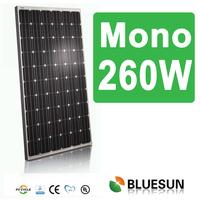 Bluesun 260w monocrystalline solar panel 60 cell with ISO CE TUV UL certificates