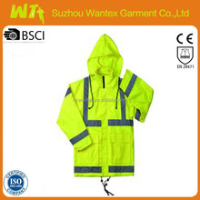 EN20471/343 hi vis wholesale alibaba newly 100% polyester pu safety fluo-yellow oil field work o parka/jackets