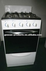 Kitchen appliance gas range free standing stove with windguard/full glass door/brass burner