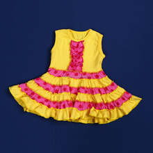 Baby Girl Ruffle Dress Kids Solid Color Ruffled Frock Design Pink Dots And Yellow Color Patchwork Dress QL-51