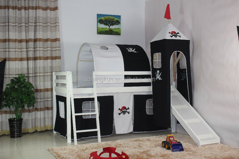 mode kid solide pin lit mezzanine avec tente ensemble lit. Black Bedroom Furniture Sets. Home Design Ideas