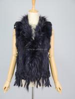 QC6027-13 Rosie Huntington-Whitely original model natural rabbit fur knitted gilet vest with raccoon dog fur collar