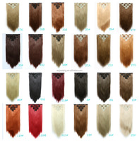 Hairpiece 24inch 130g Straight 7 Clips in False Hair Styling Synthetic Clip In Hair Extensions 7pcs/set Heat Resistant Hair Pad