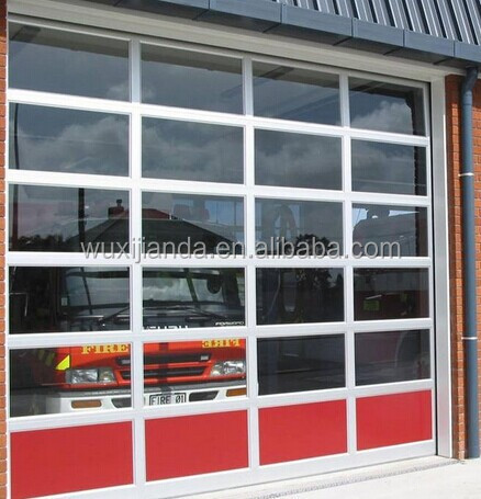 Sectional transparent garage door industrial glass door for Sectional glass garage door
